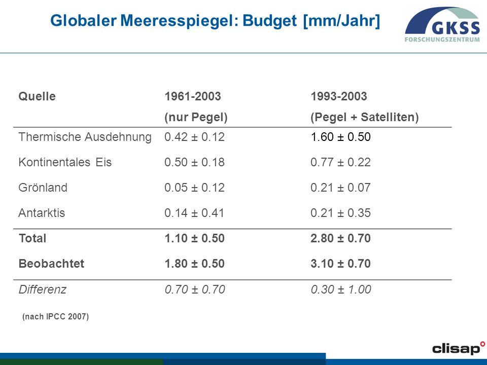 Globaler Meeresspiegel: Budget [mm/Jahr]